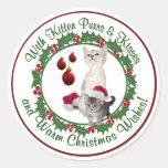 Kitten Christmas Wishes Round Seals Classic Round Sticker