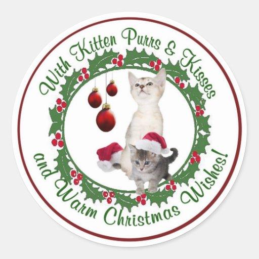 Kitten Christmas Wishes Round Seals Round Sticker