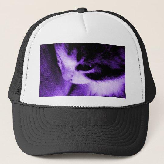 Kitten Contrast Purple Trucker Hat