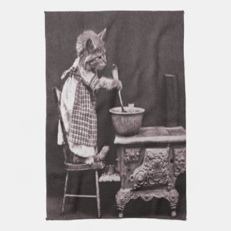 Kitten Cooking On Stove Kitchen Towel
