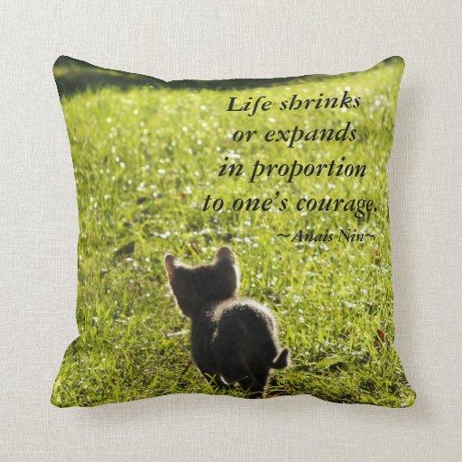 Kitten Courage Throw Pillow