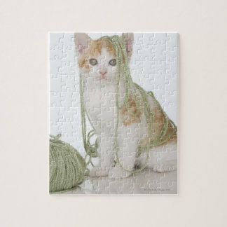 Kitten covered in yarn jigsaw puzzle
