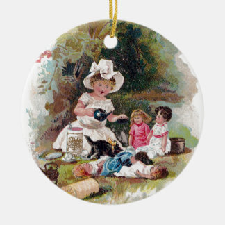 Kitten Crashes Victorian Tea Party Ceramic Ornament