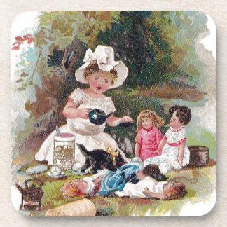 Kitten Crashes Victorian Tea Party Drink Coaster