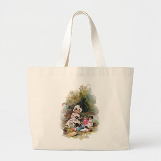 Kitten Crashes Victorian Tea Party Large Tote Bag