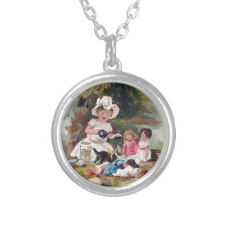 Kitten Crashes Victorian Tea Party Round Pendant Necklace