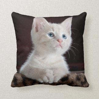 Kitten Cute Pet Face Eyes Kitty Cat Faith Throw Pillow