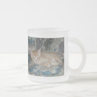 Kitten Dax on Afghan Frosted Glass Coffee Mug
