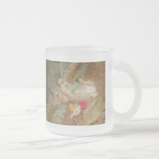 Kitten Dax Plays Frosted Glass Coffee Mug
