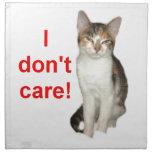 Kitten Doesnt Care Printed Napkin