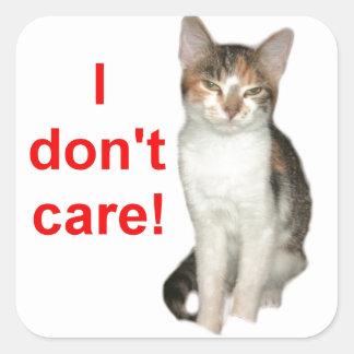 Kitten Doesnt Care Square Sticker