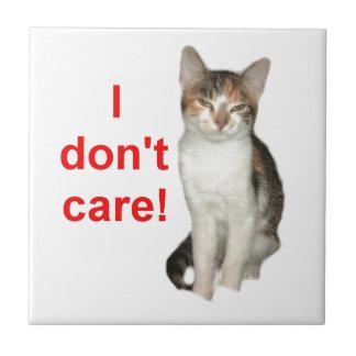 Kitten Doesnt Care Ceramic Tile