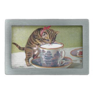 Kitten Drinking from Teacup Victorian Rectangular Belt Buckles