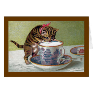 Kitten Drinking from Teacup Victorian Card