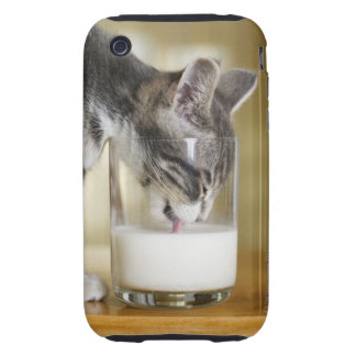 Kitten drinking milk from glass iPhone 3 tough cases