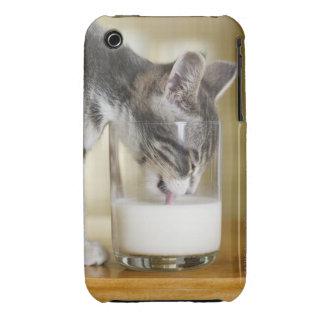 Kitten drinking milk from glass iPhone 3 Case-Mate case