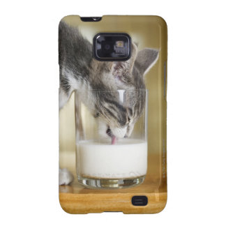 Kitten drinking milk from glass samsung galaxy s covers