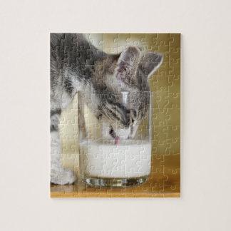 Kitten drinking milk from glass jigsaw puzzle