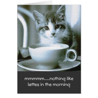 Kitten Drinking Morning Latte Note Card
