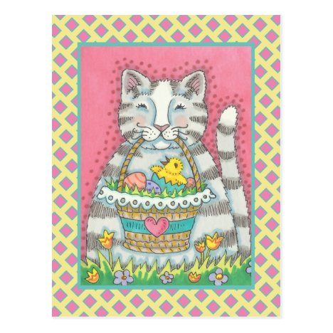 KITTEN & EASTER BASKET, CUTE CAT HOLIDAY POSTCARD