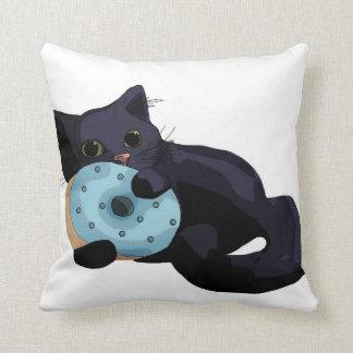 Kitten Eating Donut Pillow