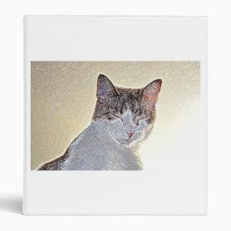 Kitten eyes closed sparkle vinyl binder