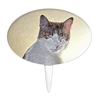 Kitten eyes closed sparkle cake pick