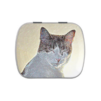Kitten eyes closed sparkle jelly belly tins