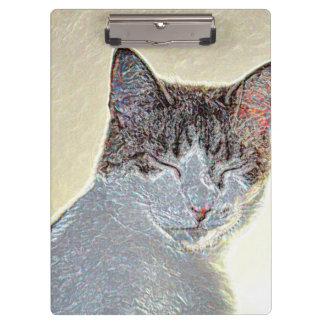 Kitten eyes closed sparkle clipboard