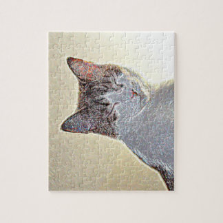 Kitten eyes closed sparkle jigsaw puzzle