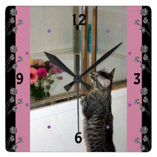 Kitten Finds Flowers Pretty Wall Clock