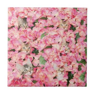 Kitten Flower Collage Tile