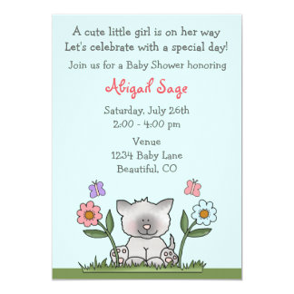 """Kitten, Flowers and Butterflies Baby Shower Invite 5"""" X 7"""" Invitation Card"""