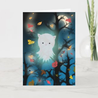 Kitten Ghost Halloween Card card
