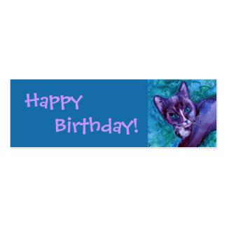 "Kitten Gift Tag - ""Purple Tuxedo"" Business Card Template"