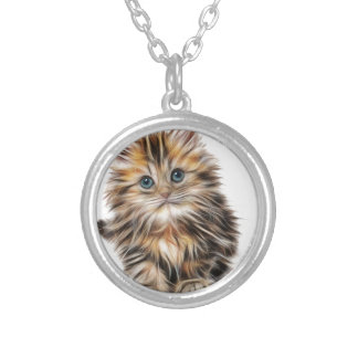 Kitten Gifts Silver Plated Necklace
