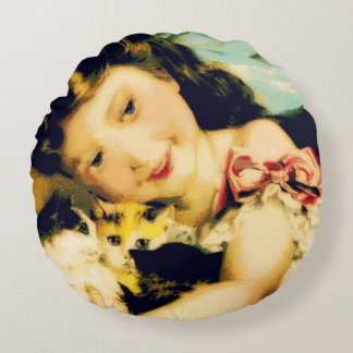 Kitten Girl Round Pillow