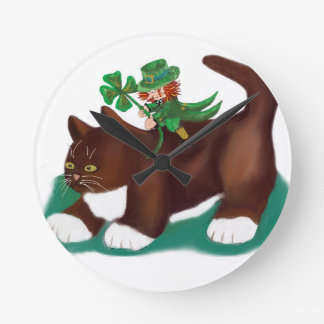Kitten Gives this Lucky Leprechaun a Ride Round Clocks