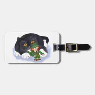 Kitten Grabs at a Leprechaun Tags For Luggage
