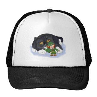 Kitten Grabs at a Leprechaun Trucker Hat