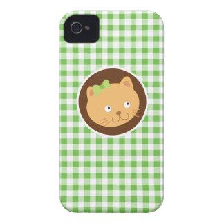 Kitten; Green Gingham iPhone 4 Case-Mate Cases