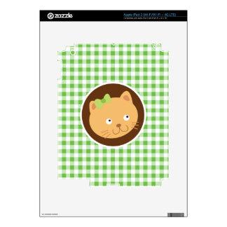 Kitten; Green Gingham Skins For iPad 3