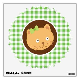 Kitten; Green Gingham Wall Sticker