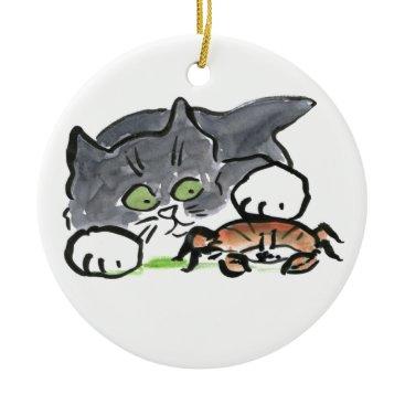 Beach Themed Kitten has found a Crab on the Beach Ceramic Ornament
