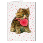 KITTEN & HEARTS by SHARON SHARPE Greeting Card