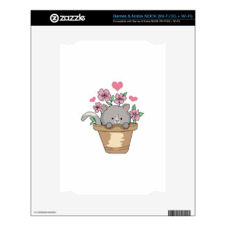 KITTEN HEARTS & FLOWERS DECALS FOR THE NOOK