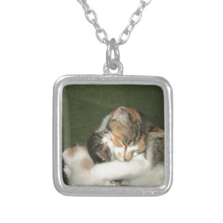 Kitten Hug Silver Plated Necklace
