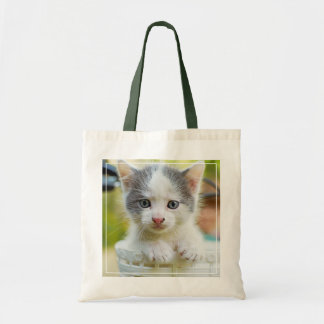 Kitten In A Basket On A Bicycle Tote Bag