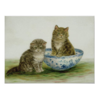 Kitten in a Blue China Bowl Poster