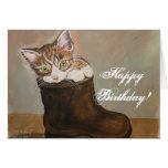 Kitten in a Boot Birthday Card